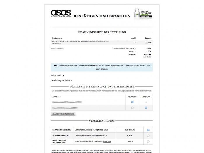 Asos - Checkout
