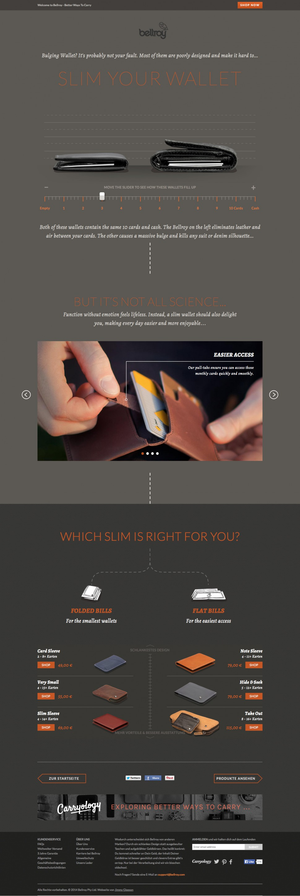Bellroy - Slim your wallet - landingpage