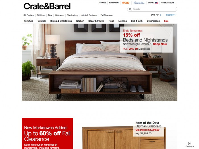 crate and barrel - home page