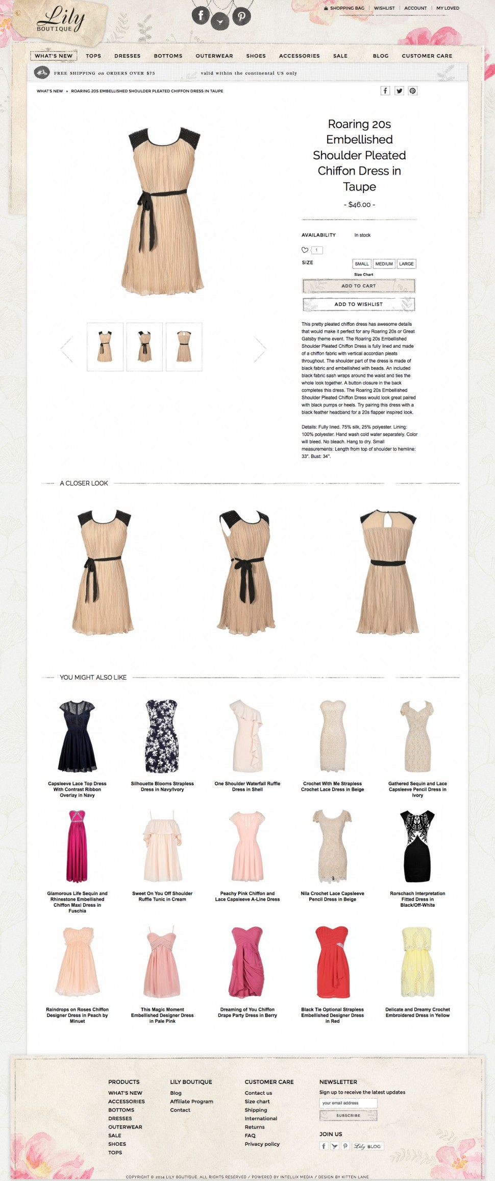 lily boutique - product page