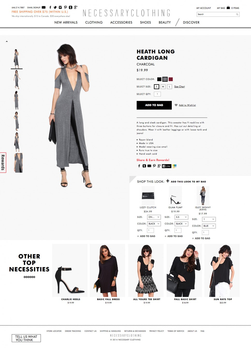 necessary clothing - product page