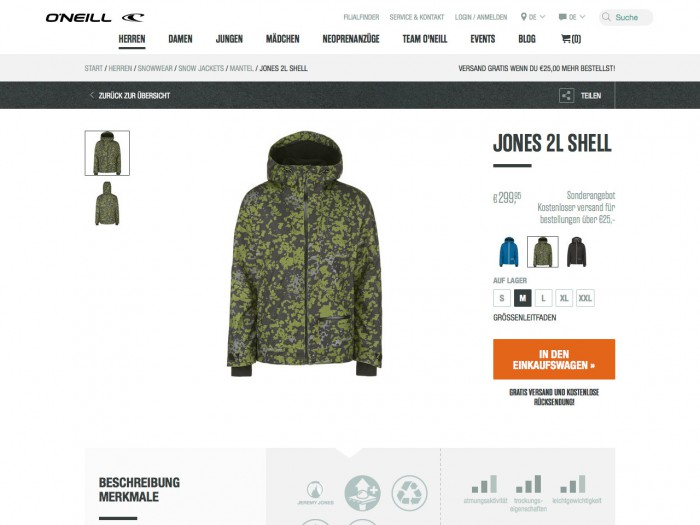 o'neill - product page
