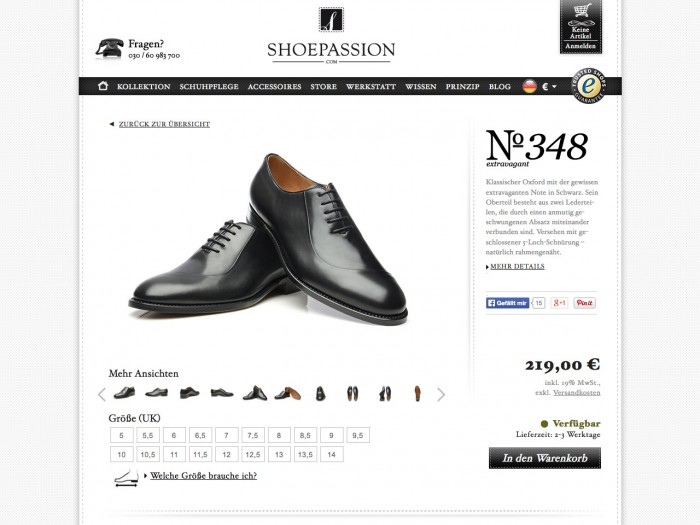 shoe passion - product page