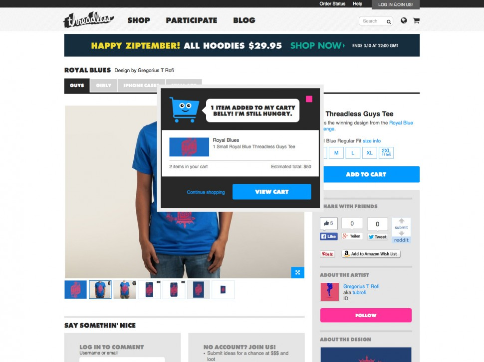 threadless - shopping cart