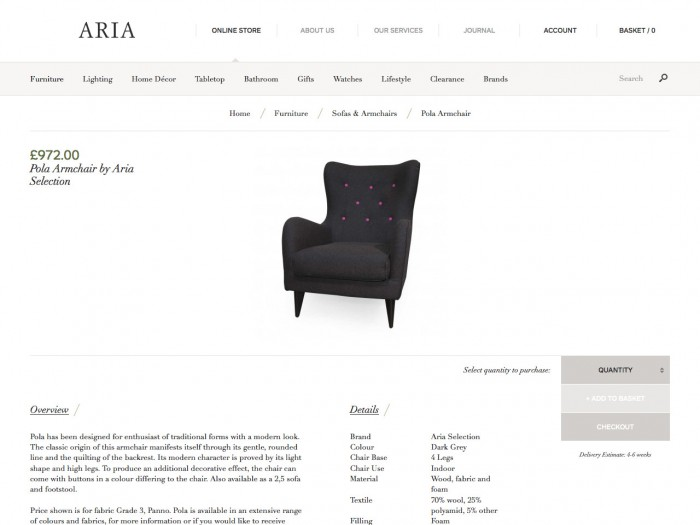 aria - product page