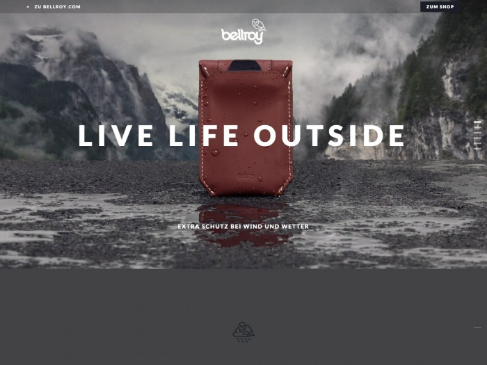 bellroy - landing page