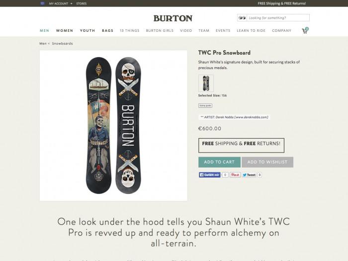 burton - product page