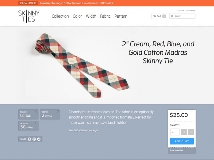 skinny ties - product page