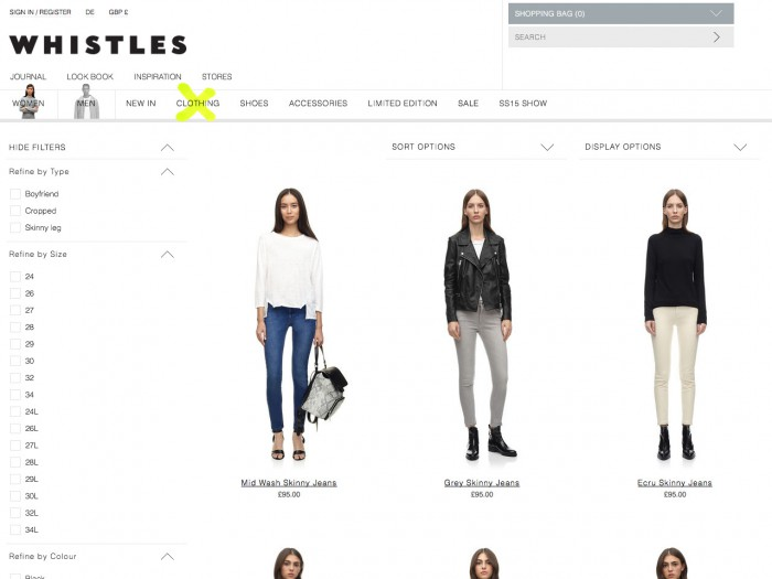 whistles - category page