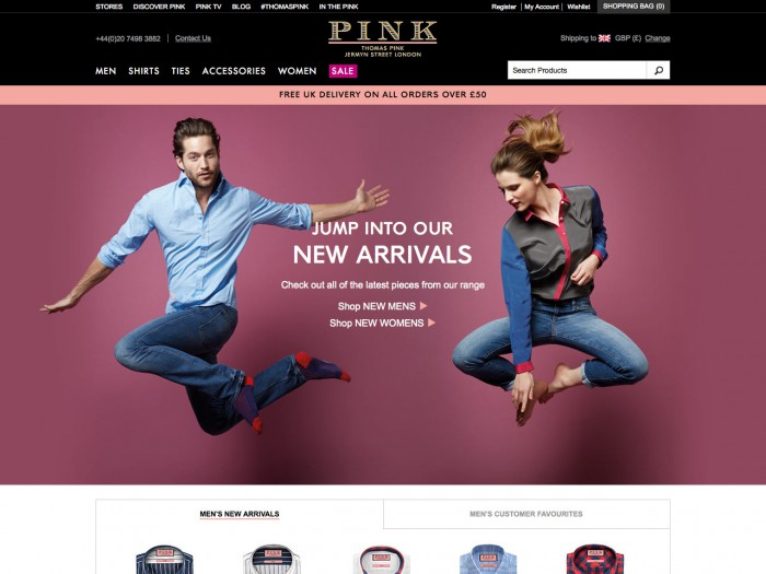 pink - home page