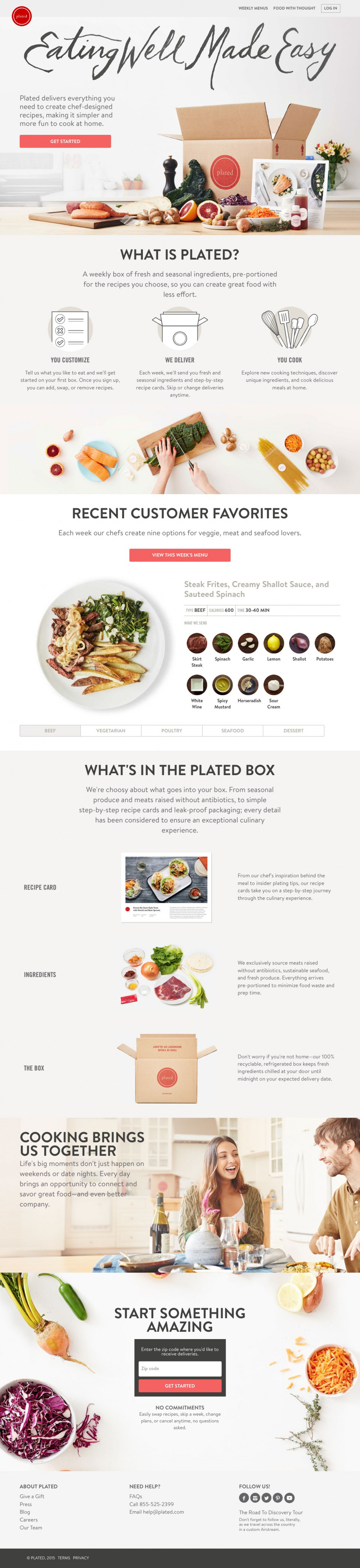 plated - landing page