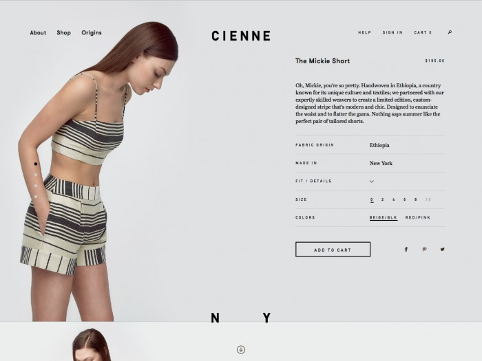 cienne - product page